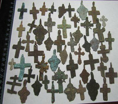 Metal detector finds.Mix lot   ancient crosses  50 pieces. N2