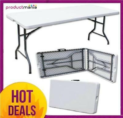 6Ft Heavy Duty Plastic Folding Table Outdoor Banquet Trestle Party Garden Bbq