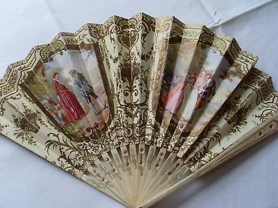 Rare Antique Advertising Ladies Folding Hand Fan,  Eventails Duvelleroy Paris