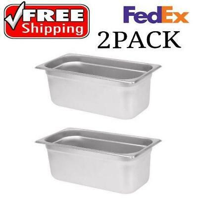 """2 PACK 1/3 Size Stainless Steel Steam Prep Table Pan 12 3/4"""" x 7"""" x 6"""" Deep NEW"""