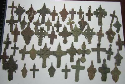 Metal detector finds.Mix lot   ancient crosses  50 pieces. N9