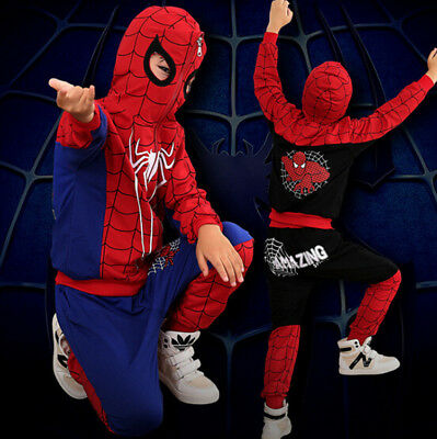 2Pcs Kids Boy Spiderman Zipped Hoodie Trousers Tracksuit Set Clothes Outfit
