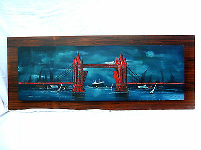 "Cool handpainted  70´s design wall picture # Wand Bild "" London "" 115 x 46 cm"