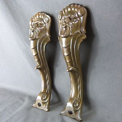 Pair of French Antique Ormolu Face Plaque Finials Mount Leg Cover Furniture