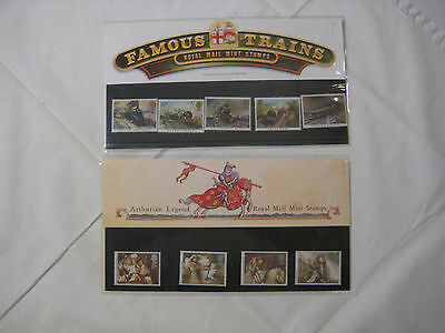 2 Sets of Royal Mail Mint Stamps Famous Trains & Arthurian Legend
