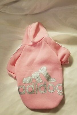 Winter Casual Adidog Pet Pink Silver Dog Clothes Warm Hoodie Coat Small New S
