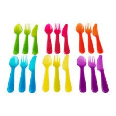 Ikea kalas plastic cutlery set baby children babies spoons knives forks 18 Pcs