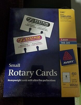 """NEW Avery Small Rotary Cards 5385 Laser 2 1/6""""x4"""" (400 cards/50 sheets) SEALED!"""