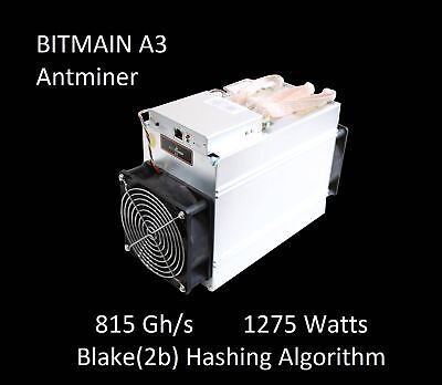 New Antminer A3 Blake(2b) Siacoin ASIC Miner 815GH/s Ships in 30 Days