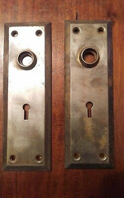 Vintage Set of 2 Metal Door Knob Skeleton Key Hole Back Plates