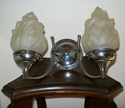 Rare Art Deco 2 Branch Olympic Flame Wall Light Original Frosted Glass Shades!.