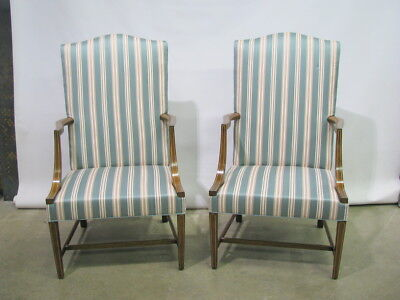 *PAIR* of Stickley Colonial Williamsburg Open Armchairs In Striped Fabric