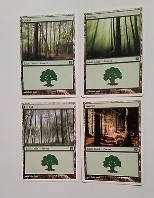 MTG 9th Edition 4 x Basic Land - Forest cards all different Magic the Gathering