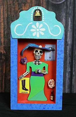 Day of the Dead skeleton Catrina Muerto Relicario Wooden Niche Mexican Folk Art
