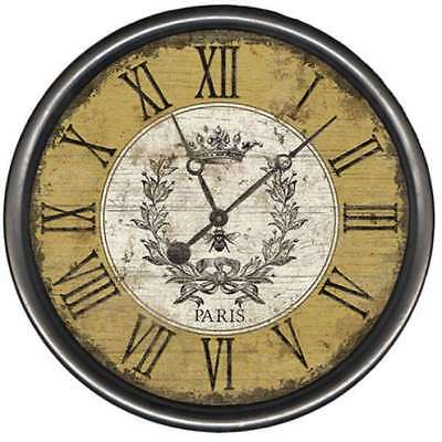 "Vintage Bee Round Rustic Wall Clock French Country 15"" , 18"" or 23"" Made USA"