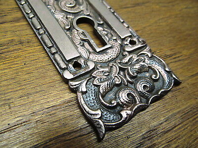 Old Eastlake  ? Bronze ? Brass ? Door Knob Escutcheon Koi Fish Design Ornate