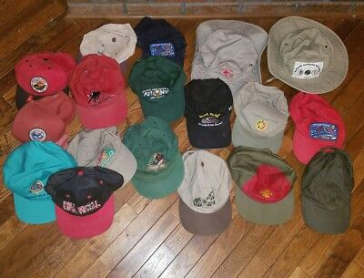 Lot of 18 Boy Scout Camp & Jamboree Hats & Snapback Caps - Used - Some Vintage