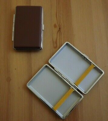 Closeout - Metal Brown Leather Double Sided King And 100's Cigarette Case