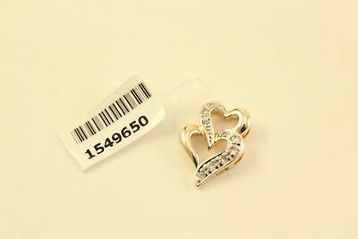 1652da4a9 Simulated Diamond Double Heart 14K Gold Overlay Sterling Silver Jewelry  Pendant