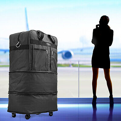 """30"""" Blu Rolling Wheeled Duffel Bag Spinner Suitcase Luggage Expandable in Black"""