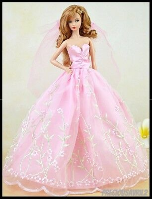Barbie Doll Clothes Pink WEDDING Dress/Wedding/Party/Clothes/Outfit/Clothing