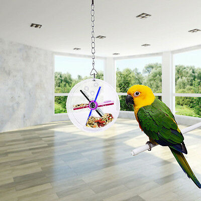 New Pet Parrot Birds Cage Feeder Hanging Foraging Wheel Toys For Macaw Co pols