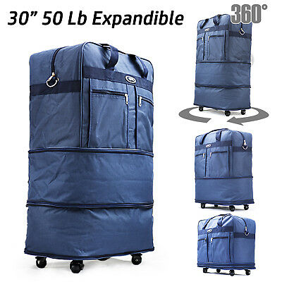 "30"" Expandable Rolling Duffel Bag Wheeled Spinner Suitcase Luggage New Blue"