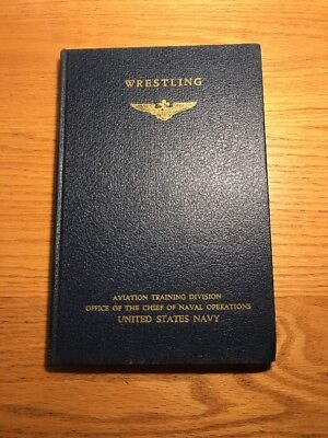 rare WRESTLING WW2 US NAVY HANDBOOK HARDCOVER BOOK, 1943, WWII physical training