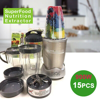 Magic 900W Nutri Flash Extractor Bullet Blender 15 Piece Superfood Blender Gold
