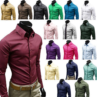 Mens Luxury Formal Shirt Long Sleeve Fit Business Work Solid Button Dress Shirts