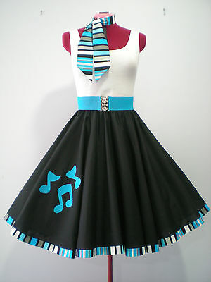 "ROCK N ROLL/ROCKABILLY ""Notes"" SKIRT-SCARF-BELT S-M Black/Turquoise."