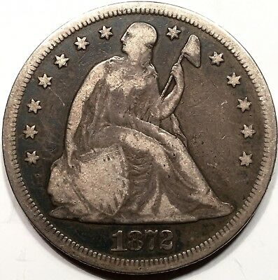 1872 Seated Liberty Silver Dollar F Fine