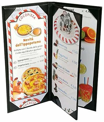 """4 Pcs of Restaurant Menu Covers Holders 4.75"""" X 11"""" Inches, 3panel 4view,Sold By"""