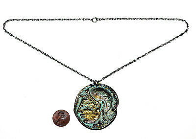 Mid Century Oversize Ancient Greek Coin Bronze Sterling Necklace Fornasetti Era