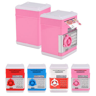 Kid Atm Bank Cash Machine Coin Note Counter Saving Money Box Gift Bank Safe