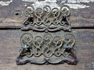 2 VTG Old FANCY Ornate Scroll Swirl Cast BRASS Pull Handle Drawer Dresser Chest
