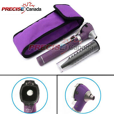 Fiber Optic Otoscope Mini Pocket Medical Ent Diagnostic Purple Set