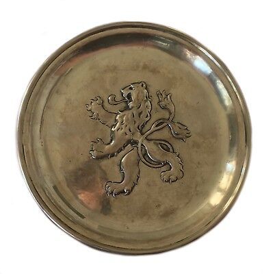 Antique Sterling 925 Silver Repousse Rampant Lion Baltensberger Small Tray