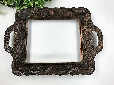 Rare Antique Aesthetic Movement Bronzed Gallery Tray Frame Oriental Dragon