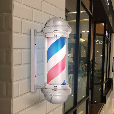 Barber Pole Red White Blue Stripes Classic Illuminated Rotating Salon Shop Sign