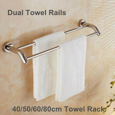 Stainless Steel Towel Rail Double Rack Home Bathroom Wall Mounted 40/50/60/80cm