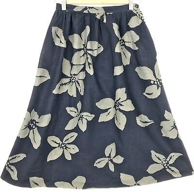 Vintage Black Khaki Green Flower Print Side Pockets Cotton Linen Skirt XS