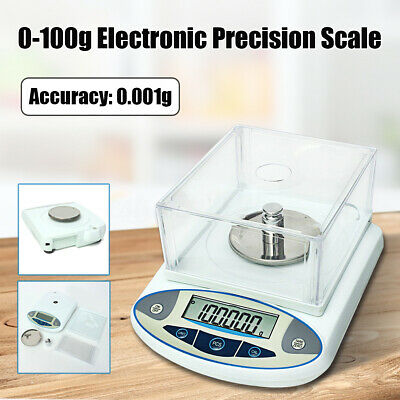 100 x 0.001g 1mg Electronic Digital Lab Scale Precision Analytical Balance Set