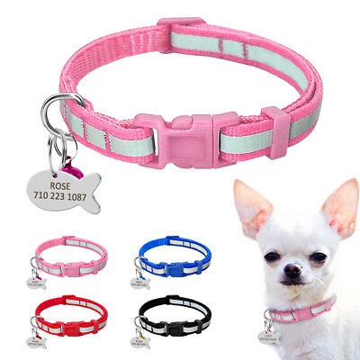 Personalised Cat Puppy Dog Collars Reflective Safety for Kitten Chihuahua XS S M