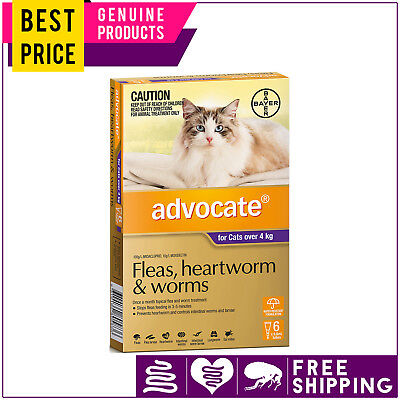 ADVOCATE for Cats 6 Doses PURPLE pack Over 4 Kg Flea Heartworm Worm Control