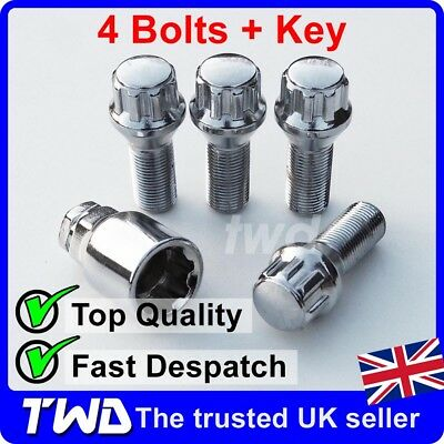 CHROME ALLOY WHEEL LOCKING BOLTS FOR BMW 5-SERIES (2010+) F10 F11 LUG NUTS [S0b]