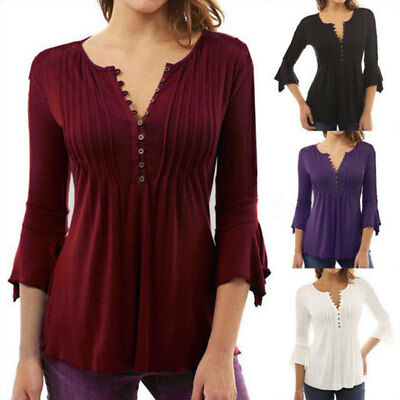 Women Boho V Neck 3/4 Sleeve Tee Ladies Loose Peplum Tops T Shirts Tunic Blouse