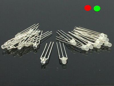 20x 3MM 3pin Common Anode/Cathode LED Light Round Lamp Emitting Red Green Diode