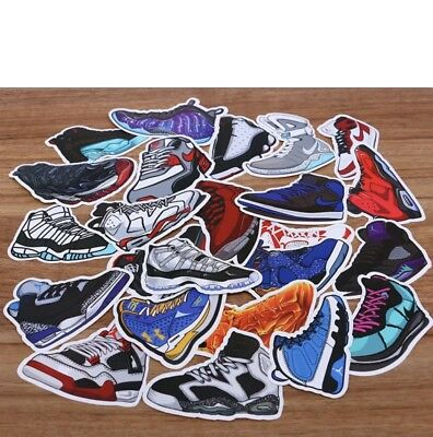 10pcs Air Jordan Sneaker Stickers for Luggage labels Laptop Skateboard Car