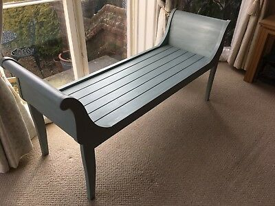 Stylishpainted mahogany window seat with shaped ends and panelled seat